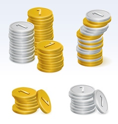 Gold and silver coin stack icons vector