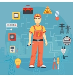 Electrician man concept with professional vector