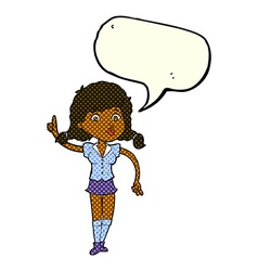 Cartoon pretty woman with idea with speech bubble vector
