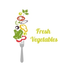 Fresh mixed vegetables on fork Logo design vector image