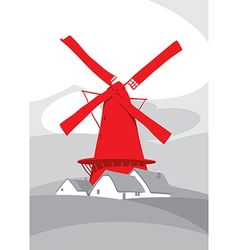 Red mill vector