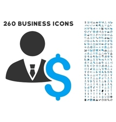 Banker icon with flat set vector