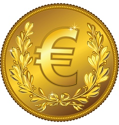 Gold money euro coin vector
