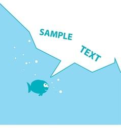 blue cartoon fish vector image