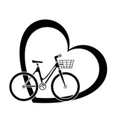 bicycle with love heart vector image