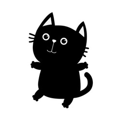 Black cat sitting icon cute funny cartoon smiling vector