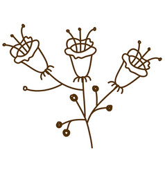 Brown silhouette with set of flowers with stem and vector