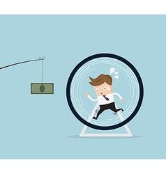 businessman running in hamster wheel vector image vector image