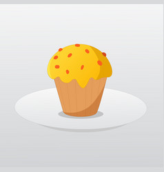 Butter cup cake on dish and gradient background vector