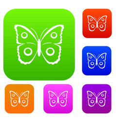 Butterfly peacock eye set collection vector