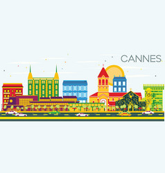 Cannes skyline with color buildings and blue sky vector