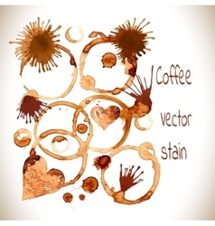 Coffee paint stains splashes and harts vector
