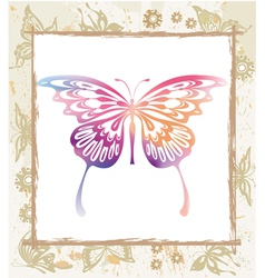 Color butterfly in a frame vector