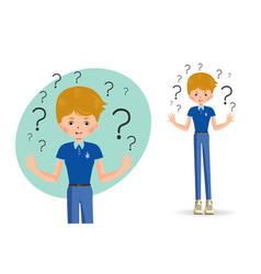 confused child shrugging shoulders vector image vector image