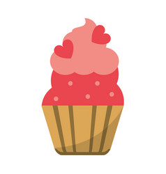 Cup cake love decoration vector