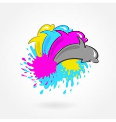 Dolphin print symbol cmyk vector