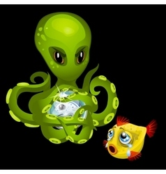Evil green octopus with magic sphere and goldfish vector
