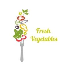 Fresh mixed vegetables on fork logo design vector