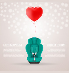 Green child car seat with red baloon in shape of vector