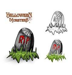 Halloween monsters spooky tombstone eps10 file vector