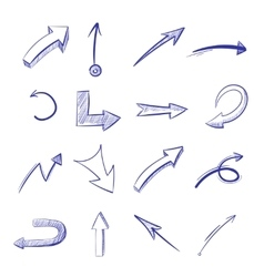 Hand drawn curved arrows vector