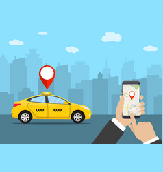 hands with smartphone and taxi application vector image vector image