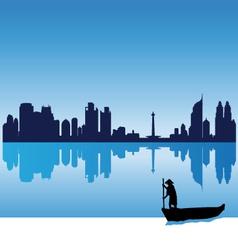 Jakarta silhouette skyline vector