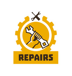 Logo repairs the hand that is holding the wrench vector