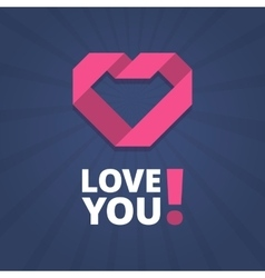 Love you card with heart sign vector image