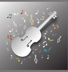 music background paper cut violin with notes vector image vector image