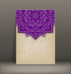 Old paper card with purple floral circular pattern vector