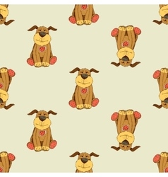Pattern with cartoon dog vector image vector image