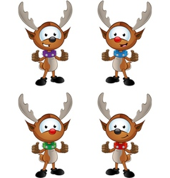 Reindeer Character Two Thumbs Up vector image