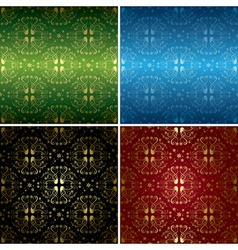 set of colorful floral seamless patterns vector image