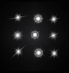 Set of different white lights different stars vector