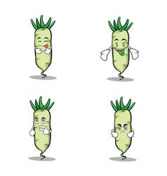 Set white radish character cartoon vector