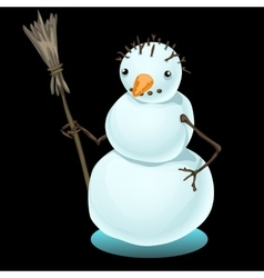 Simple sad snowman on a black background vector image