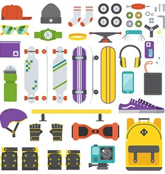 Skateboarder Equipment and Gear Set vector image vector image