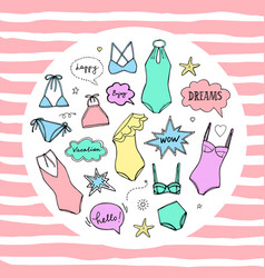 summer swimming suits collection swimsuit sketch vector image