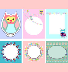 Templates for postcardinvitation with funny owls vector