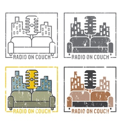 Vintage grunge labels of radio with microphone and vector