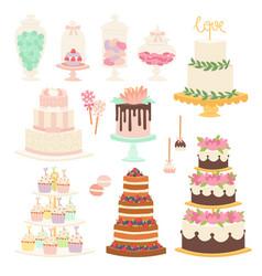 Wedding cake pie cartoon style isolated vector