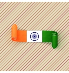 India flag on curved textile banner vector