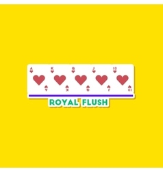 paper sticker on stylish background poker royal vector image