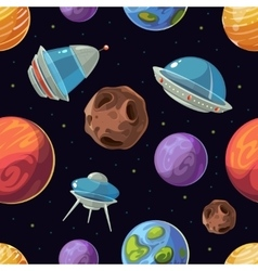 Cartoon space with planets spaceships ufo vector