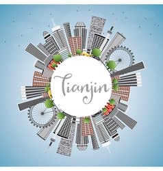 Tianjin skyline with gray buildings vector