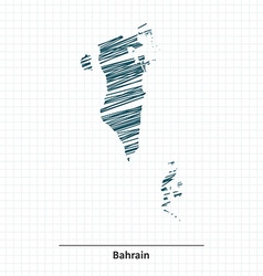 Doodle sketch of bahrain map vector