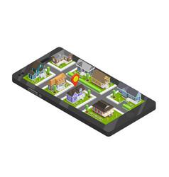 Town buildings smartphone concept vector