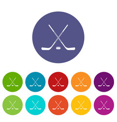ice hockey sticks icons set flat vector image