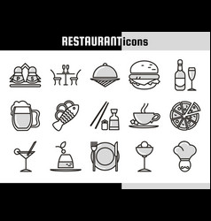 restaurant linear icons collection vector image